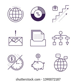 Money and analytics symbols object vector outline icons.