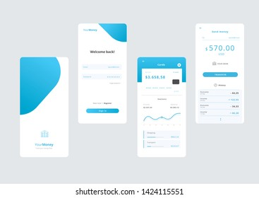 Money Application Template Smartphone UI UX Vector Illustration