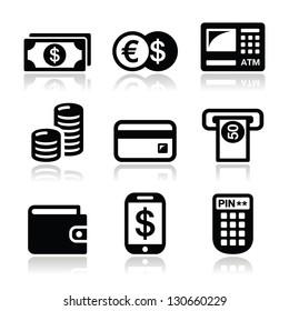 Money, atm - cash mashine vector icons set