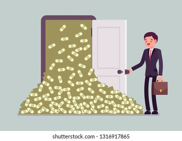 Money avalanche large cash heap and businessman. Successful manager opens a lucky door full of dollars, gets sudden arrival of profit, financial rapid increase and business growth. Vector illustration