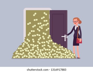 Money avalanche large cash heap and businesswoman. Successful manager opens lucky door full of dollars, gets sudden arrival of profit, financial rapid increase and business growth. Vector illustration