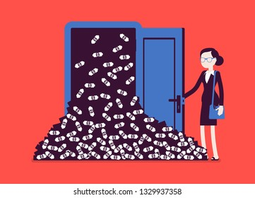 Money avalanche large cash heap and businesswoman. Successful manager opens lucky door full of dollars, gets sudden arrival of profit, financial rapid increase. Vector illustration faceless characters