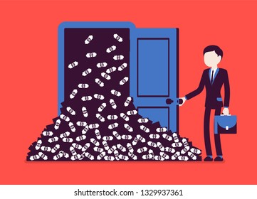 Money avalanche large cash heap and businessman. Successful manager opens lucky door full of dollars, gets sudden arrival of profit, financial rapid increase. Vector illustration, faceless characters