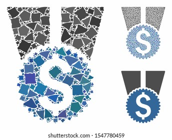 Money award mosaic of uneven elements in various sizes and color tints, based on money award icon. Vector uneven elements are organized into collage. Money award icons collage with dotted pattern.