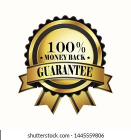 Money back 100% GUARANTEE Golden Shiny Label Sign. Vector