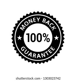 Money Back Guarantee 100% sticker badge label black flat. Vector EPS 10