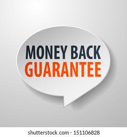 Money Back Guarantee 3d Speech Bubble on White background