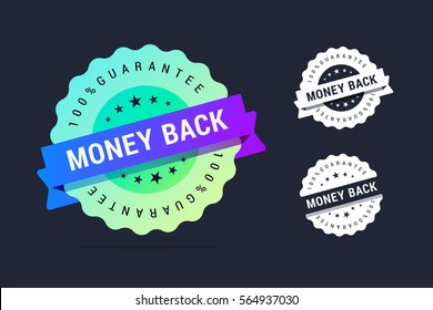 Money back guarantee badge. Vector stamp with colorful gradient. Black and white variants.