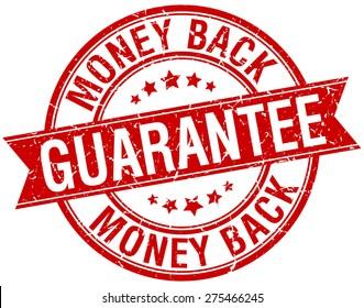 money back guarantee grunge retro red isolated ribbon stamp