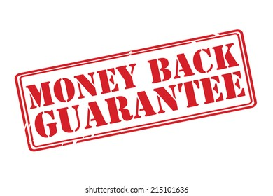 MONEY BACK GUARANTEE red rubber stamp vector over a white background.