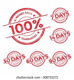 Money back guarantee red stamp set, vector illustration