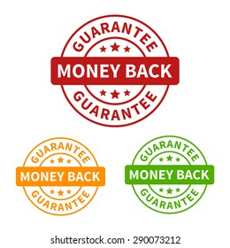 Money back guarantee seal or stamp flat vector icon