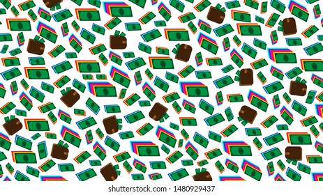 Money background. Wallets with dollars. Green money of different sizes has shades behind different colors. The purse symbolizes getting wealth and being able to control it. Background for web business