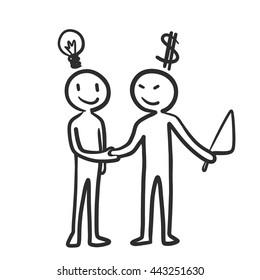Money from bad guy buy idea handshake, business deal concept. Cartoon doodle vector design.