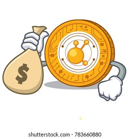 With money bag BitConnect coin character cartoon