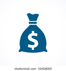 Money bag blue flat icon