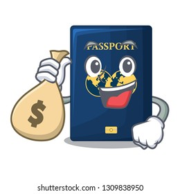 With money bag blue passport in the cartoon form