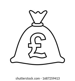 Money bag with British pound / Pound Sterling / GBP symbol on it - outline icon