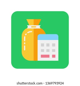 Money bag and calendar flat color icon. Budget planning. Quick loans. Passive income. Symbol for web page, mobile app, banner, social media. Pictogram UI/UX user interface. Vector clip art.