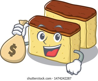 With money bag castella cake isolated in the cartoon