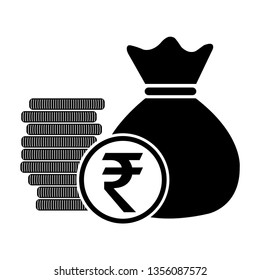 money bag with coins Indian Rupee, INR currency symbol, vector illustration.