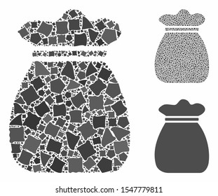 Money bag composition of abrupt parts in various sizes and shades, based on money bag icon. Vector abrupt pieces are united into composition. Money bag icons collage with dotted pattern.