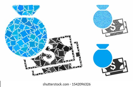 Money bag composition of humpy parts in variable sizes and color tones, based on money bag icon. Vector humpy dots are united into collage. Money bag icons collage with dotted pattern.
