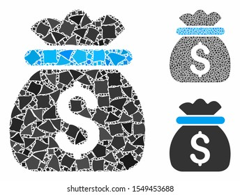 Money bag composition of inequal items in different sizes and color tints, based on money bag icon. Vector rugged items are organized into composition. Money bag icons collage with dotted pattern.