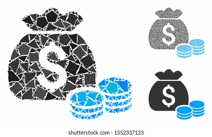 Money bag composition of rough parts in different sizes and shades, based on money bag icon. Vector joggly pieces are composed into collage. Money bag icons collage with dotted pattern.
