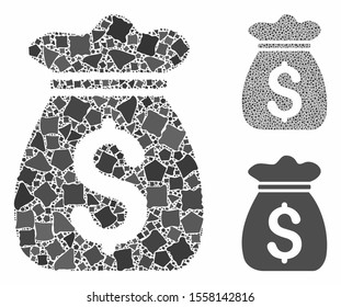 Money bag composition of trembly pieces in variable sizes and color tones, based on money bag icon. Vector rugged pieces are combined into composition. Money bag icons collage with dotted pattern.