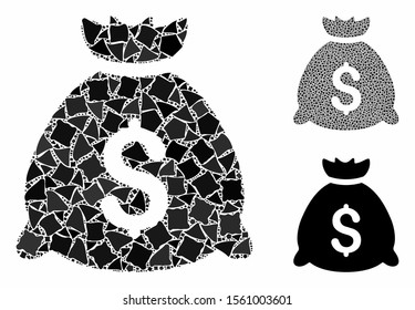 Money bag composition of unequal parts in various sizes and color tones, based on money bag icon. Vector rugged parts are organized into composition. Money bag icons collage with dotted pattern.