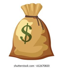 Money bag with dollar sign icon. Cartoon illustration of money bag with dollar sign vector icon for web