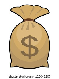 money bag with dollar sign on white background