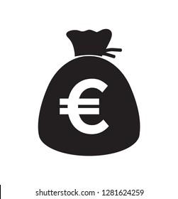 Money bag Euro Icon. Euro currency symbol.