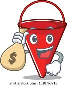 With money bag fire bucket mascot shape on cartoon