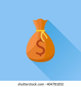 Money bag flat icon with long shadow on blue background. Vector illustration.