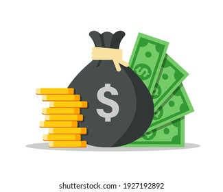 Money bag flat illustration. Dollars and gold coins stack. Wealth and banking icon. Isolated on white