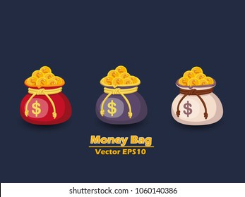 Money bag and gold coins vector EPS10 icon with dollar sign. color and Background. Gift and decorative element. vector illustration