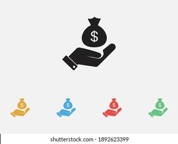 Money bag in a hand icon. Money bag and dollar with hand icon. Filled vector icon. Set of colorful flat design icons