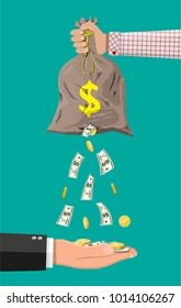 Money bag with hole in hand. Losing golden coins and dollar cash. Losing money and overspending. Business insurance and protection. Vector illustration in flat style