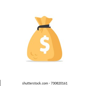 Money bag icon, moneybag flat simple cartoon illustration. Vector illustration.