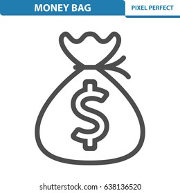 Money Bag Icon. Professional, pixel perfect icons optimized for both large and small resolutions. EPS 8 format. 12x size for preview.