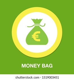Money bag icon, money sign symbol