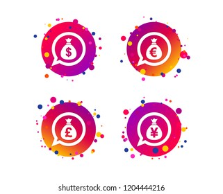 Money bag icons. Dollar, Euro, Pound and Yen speech bubbles symbols. USD, EUR, GBP and JPY currency signs. Gradient circle buttons with icons. Random dots design. Vector