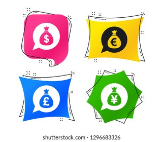 Money bag icons. Dollar, Euro, Pound and Yen speech bubbles symbols. USD, EUR, GBP and JPY currency signs. Geometric colorful tags. Banners with flat icons. Trendy design. Vector