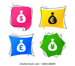 Money bag icons. Dollar, Euro, Pound and Yen symbols. USD, EUR, GBP and JPY currency signs. Geometric colorful tags. Banners with flat icons. Trendy design. Vector