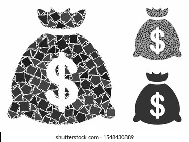 Money bag mosaic of abrupt pieces in different sizes and color tints, based on money bag icon. Vector bumpy elements are united into mosaic. Money bag icons collage with dotted pattern.
