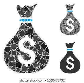 Money bag mosaic of ragged elements in various sizes and color hues, based on money bag icon. Vector ragged parts are united into mosaic. Money bag icons collage with dotted pattern.