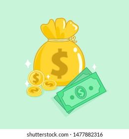 Money Bag  on Blue Background