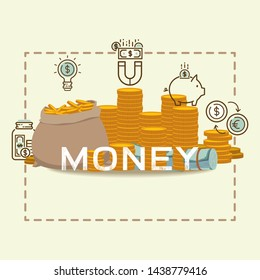 Money bag packing in bundles of bank notes, bills fly, gold coins poster. Flat vector bagfull money concept financial investment illustration. Billion dollar cash currency finance